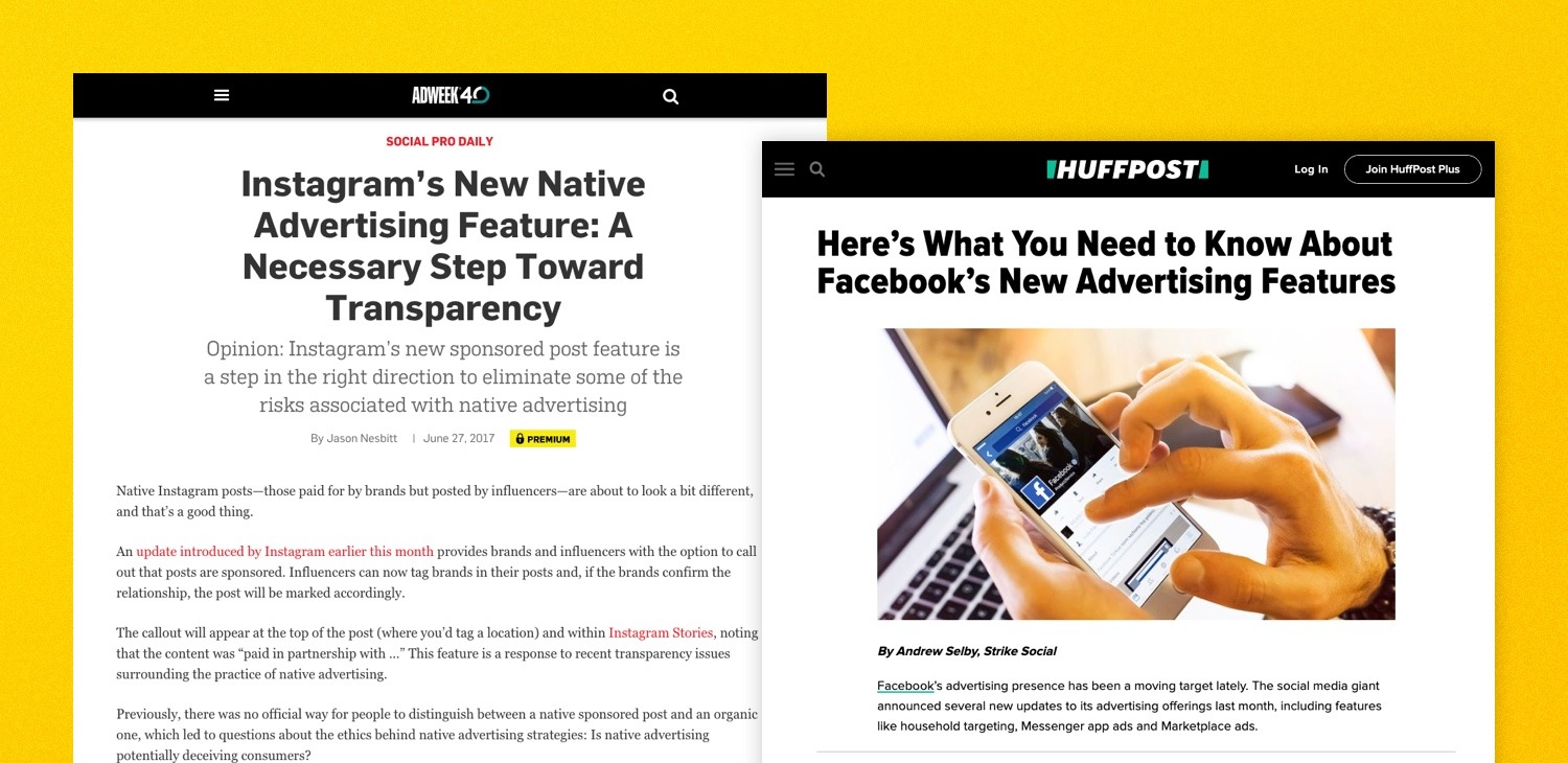 Strike Social Adweek and Huffington Post PR placements