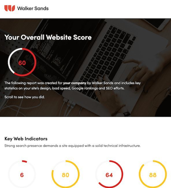 Walker Sands B2B Web Audit Score